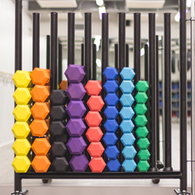 Rack of colorful hand weights